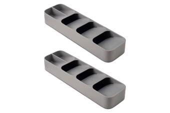2x Joseph Joseph DrawerStore Compact Cutlery Organiser Kitchen Utensils Rack GRY