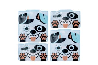 4pc Russbe Kids School Reusable BPA Free Snacks Food & Sandwich Bags White Dog