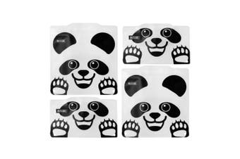 4pc Russbe Kids School Reusable BPA Free Snacks Food & Sandwich Bags Panda