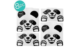 2x 4pc Russbe Kids School Reusable BPA Free Snacks Food & Sandwich Bags Panda