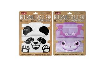 Russbe Reusable 4pc Panda & 4pc Purple Monster Snack & Sandwich Bags Combo Pack