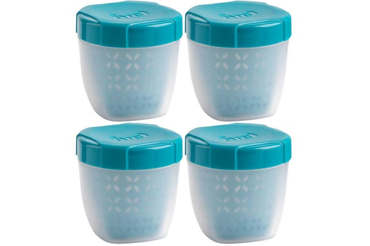 4PK Trudeau 350ml Fruit Berries Food Snack Tub Container Storage BPA Free Blue