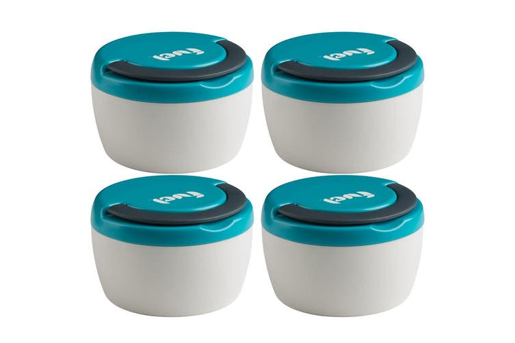 4x Trudeau 240ml Double Wall Insulated Hot Cold Food Lunch Box Snacks Container
