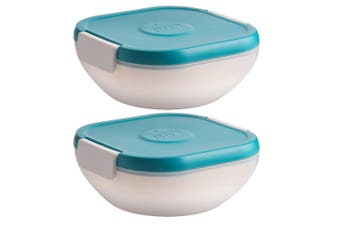 2x Trudeau Salad On The Go BPA Free Food Lunch Box w Ice Pack Dressing Container