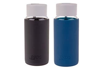 2pc Oasis 500ml Borosilicate Glass Water Bottle w  Silicone Sleeve Black Blue
