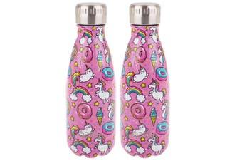 2x Oasis 350ml Double Wall Insulated Water Drinking Bottle Vacuum Flask Unicorn