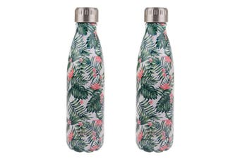 2xOasis 500ml Stainless Steel Double Wall Insulated Travel Water Bottle Paradise
