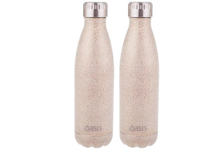 2x Oasis 500ml Water Thermo Bottle Stainless Steel Cold Hot Drink Shimmer Gold