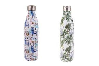 Oasis 500ml Stainless Steel Double Insulated Llamas & Jungle Friends Bottle Pack