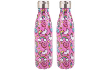 2x Oasis 500ml Water Thermo Bottle 2 Wall Stainless Steel Cold Hot Drink Unicorn