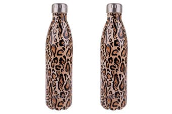 2x Oasis 750ml Double Wall Insulated Drink Water Bottle Vacuum Flask Leopard