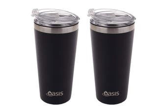 2PK Oasis 480ml Stainless Steel Double Wall Insulated Travel Mug w Lid Matte BLK