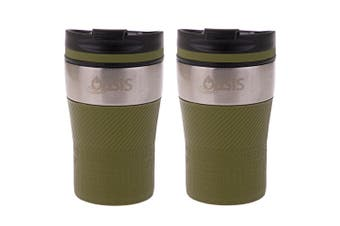 2x Oasis 280ml Cafe Stainless Steel Insulated Travel Drink Cup Flask Avocado GRN
