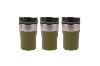 3x Oasis 280ml Cafe Stainless Steel Insulated Travel Drink Cup Flask Avocado GRN