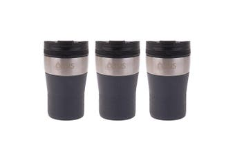 3PK Oasis 280ml Cafe Stainless Steel Insulated Travel Drinkware Cup Charcoal GRY