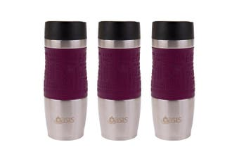 3PK Oasis Cafe 380ml Stainless Steel Insulated Travel Drink Mug Drink Flask Plum
