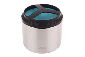 Oasis 1L Stainless Steel Insulated Food Container Storage Flask Jar Turquoise