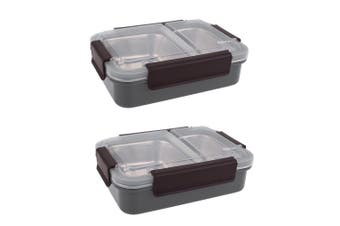 2PK Oasis 23cm Stainless Steel 2 Compartments Lunchbox Food Container Box CHAR