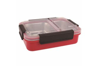 Oasis 23cm Stainless Steel 2 Compartment Lunch Box Food Storage Container Red