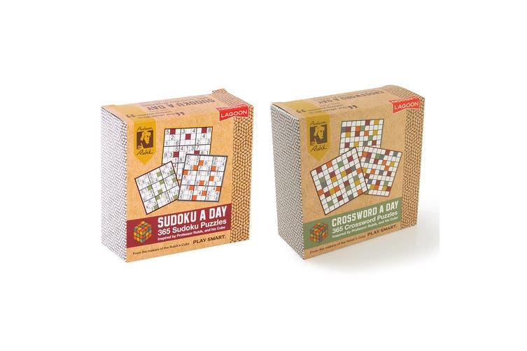 2PK Lagoon Rubik 365 Sudoku A Day & 365 Crossword A Day Desk Block Combo Set