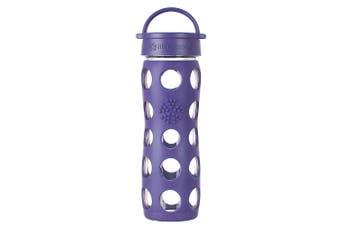 Lifefactory 475ml Glass Bottle Classic Cap w  Silicone Non-Slip Sleeve Purple