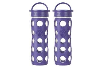 2x Lifefactory 475ml Glass Bottle Classic Cap w  Silicone Non-Slip Sleeve Purple