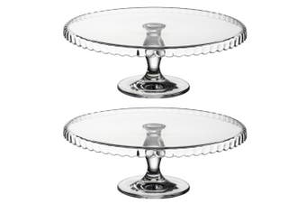 2x Pasabahce Patisserie 32cm Clear Glass Scallop Footed Cake Stand Display Party