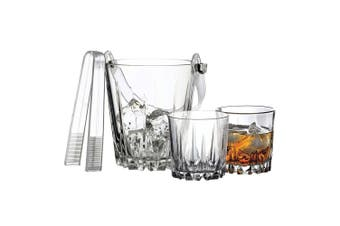 7pc Pasabahce Karat Whisky Set Glass Drinking Tumblers w Ice Bucket Tongs Clear