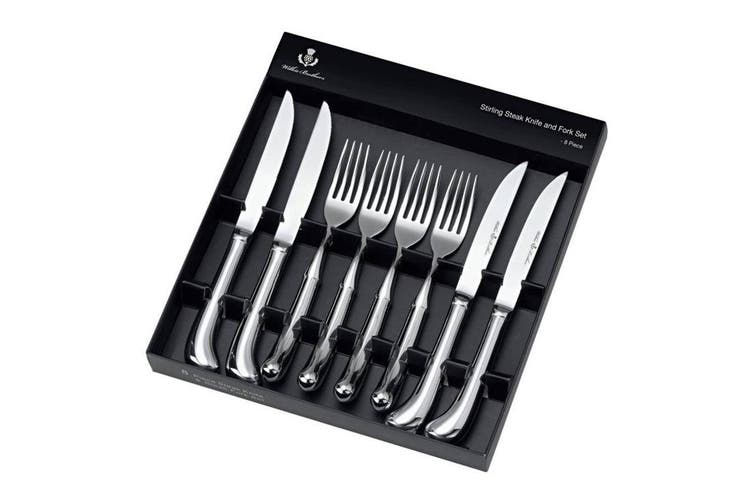 Wilkie Brothers 8pc Stainless Steel Steak Knife Fork Cutlery Kitchen Dining Set