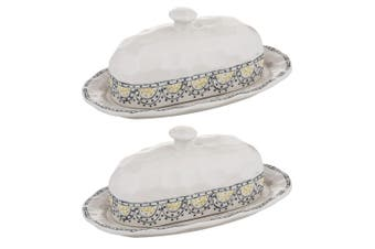 2x Amalfi Ethnique 27cm Stoneware Butter Dish Container Holder Tableware Lid IVY