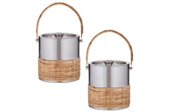 2x Amalfi Esprit 16.5cm Double Wall Brushed Stainless Steel Ice Bucket w  Lid SL