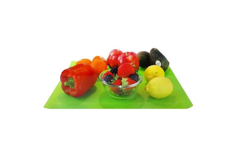 2pc Fruit Fresh Crisper Drawer Liner Vegetable Saver Refrigerator Mat Set Green