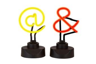 2pc Amalfi 23cm Neon Light Art Sign @ & Handmade Novelty Lamp Table Side Decor