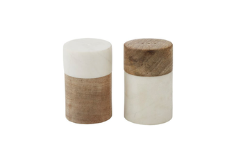 Academy Eliot Salt & Pepper S&P Shaker Wood Marble Set of 2 Dining Table