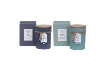 2PK Amalfi Soy Wax Scent Fragrance Candle Jar Bois & Sauge & Santal & Tabac Set