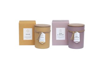2PK Amalfi Soy Wax Blend Scent Fragrance Candle Jar Rose & Vetiver & Citron Set