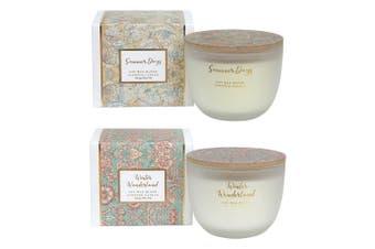 2PK Amalfi Soy Wax Scented Fragrance Candle Jar Summer Days & Winter Wonderland