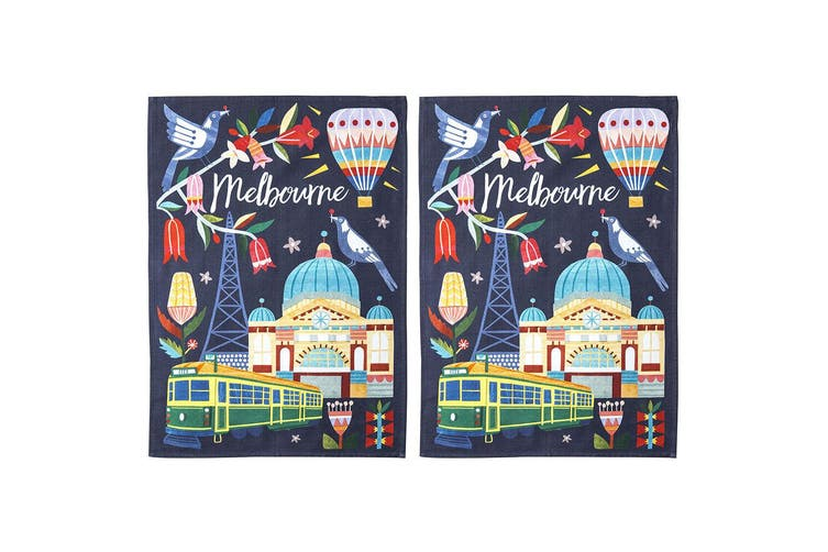 2x Australiana 50x70cm Melbourne Australia Kitchen Decor Cotton Cloth Tea Towel