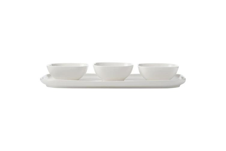 4pc Maxwell & Williams White Basics Square Serving Bowls w Rectangle Platter Set