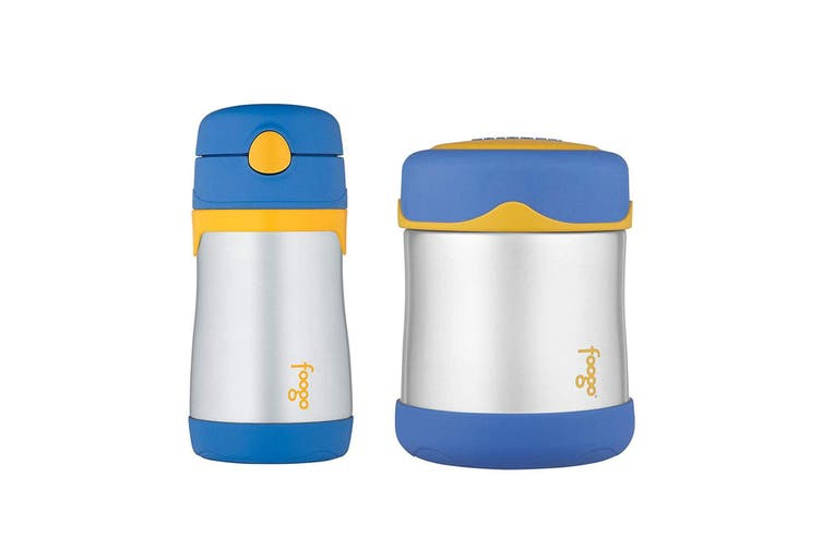 2pc Thermos 290ml Foogo Vacuum Insulated Stainless Steel Food Jar Bottle Blue