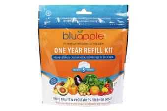 8PK Bluapple 1 Year Satchel Refill Kit Fresh Produce Keeper for Fruits Veggies