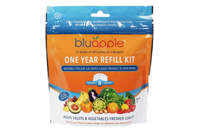 8PK Bluapple 1 Year Satchel Refill Kit Fresh Produce Keeper for Fruits Veggies