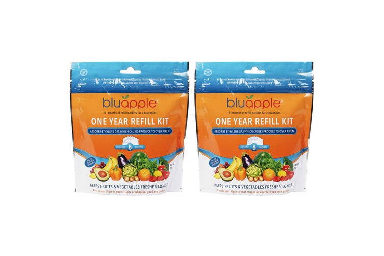 16PK Bluapple 2 Year Satchel Refill Kit Fresh Produce Keeper for Fruits Veggies