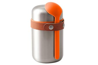 Black + Blum 400ml Vacuum Insulated Stainless Steel Food Flask w  Spoon Orange
