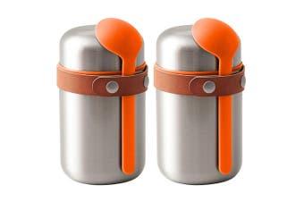 2PK Black + Blum 400ml Vacuum Insulated Stainless Steel Food Flask w  Spoon OR