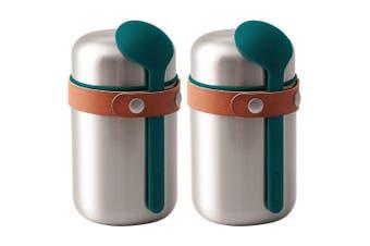 2PK Black + Blum 400ml Vacuum Insulated Stainless Steel Food Flask w  Spoon Blue