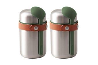 2x Black + Blum 400ml Vacuum Insulated Stainless Steel Food Flask w  Spoon Green