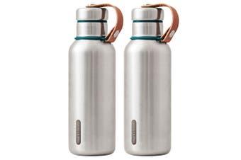 2PK Black + Blum 500ml Vacuum Insulated Stainless Steel Drink Flask Bottle Blue
