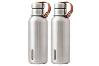 2PK Black + Blum 500ml Vacuum Insulated Stainless Steel Drink Flask Bottle Green