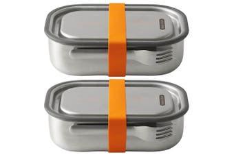 2PK Black + Blum 1L Vacuum Insulated Stainless Steel Lunch Box Container Orange